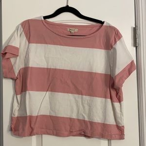 Madewell - Pink & White Striped Crop Tee